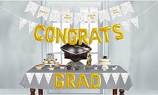 Dazonge Graduation Decorations 2020 | White and Gold Graduation Banner & Congrats Grad Balloons | Graduation Party Supplie...