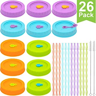 [26 Pack] Plastic WIDE Mouth Mason Jar Lids for Ball, Kerr, etc with Straw Hole/Straws/Silicone Rings/Stoppers/Clean Brush, Food-Grade Colored Mason/Canning Jar Drinking Lids/Food Storage Caps