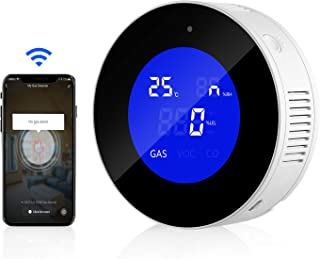 WiFi Natural Gas Detector/Propane Detector, Natural Gas Alarm for Home with LCD Display Plug-in Gas Leak Sensor for LPG, LNG, Methane & Butane Gases, Smart Tuya App Control,Voice Sound/Light Warning