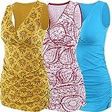 ZUMIY Camisa lactancia de maternidad para embarazadas con tanque de doble capa de algodón con cuello en V y cintura fruncida [Pequeño - Rojo + amarillo + azul lago / paq. De 3]