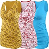 ZUMIY - Camiseta de Lactancia Materna para Embarazada, Cuello en V de algodón para Mujer, Cintura Fruncida con Doble Capa Rojo+Amarillo+Azul Lago/Paquete de 3 M