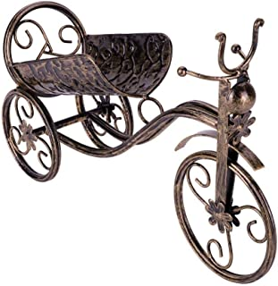 QIYUE Wine bottle holder metal tricycle shape wine shelf home office living room decoration accessories vintage bronze