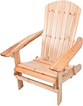 King77777 New Durable Patio Foldable Design Wood Adirondack Chair w/Footrest Stool