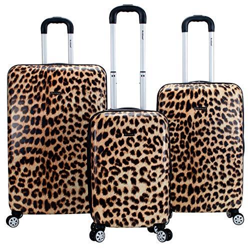 Rockland Safari Hardside Spinner Wheel Luggage, Leopard, 3-Piece Set (20/24/28)