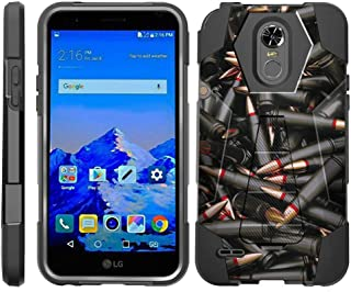 TurtleArmor | Compatible with LG Stylo 3 Case | LG Stylus 3 Case | Stylo 3 Plus [Dynamic Shell] Impact Proof Hard Kickstand Hybrid Shock Silicone Cover Robot Military Army - Black Bullets