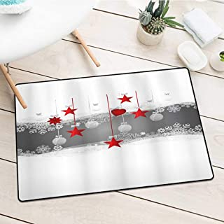 Wang Hai Chuan Inlet Outdoor Door mat Stars-and-Balls-Shower-Curtain Catch dust Snow and mud W29.5 x L39.4 Inch Christmas