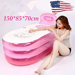 Portable Inflatable Adult Bathtub Thicken Adult Spa Bathing Foldable Bath Tub Adult Child SPA PVC Sun Bed 1.5M Long, Pink