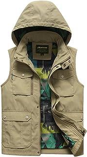 ポケットベストメンズベスト春と秋の薄いベストフード付きアウトドアツーリングマルチポケット釣りベスト (色 : Khaki, サイズ さいず : 2XL)
