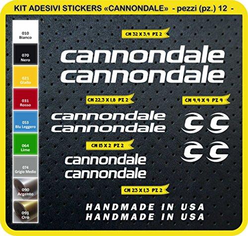 Adesivi Bici Cannondale Kit Adesivi Stickers 12 Pezzi -Scegli SUBITO Colore- Bike Cycle pegatina cod.0089 (Bianco cod. 010)