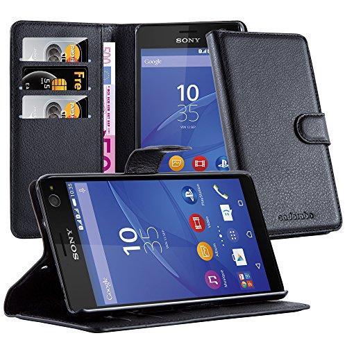 Cadorabo Hülle für Sony Xperia C4 - Hülle in Phantom SCHWARZ – Handyhülle mit Kartenfach & Standfunktion - Case Cover Schutzhülle Etui Tasche Book Klapp Style
