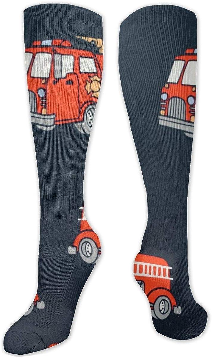 Fire Truck Navy Knee High Socks Leg Warmer Dresses Long Boot Stockings For Womens Cosplay Daily Wear