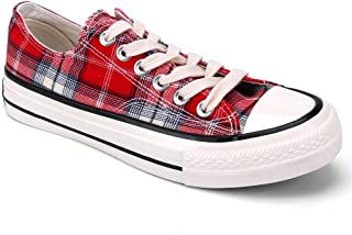 aogula Women's Lattice Classic Sneakers Lace-up Canvas Shoes Low Top Cute Casual Flat Fashion Walking Trainers