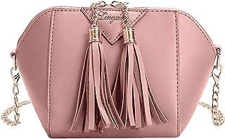 Wultia - Bags for Women Women Solid Color Fashion Handbag Tassel Shoulder Bag Small Tote Ladies Purse Bolsa Feminina Pink