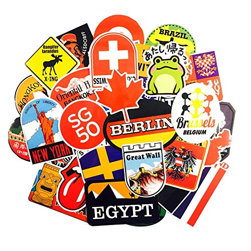 Travel Country Stickers Pack [40pcs) Destination Holiday Hotel Stickers For Children Laptop,Kids,Cars,Motorcycle,Bicycle,Skateboard,Suitcase,Party,Luggage,Bumper Stickers bomb World Travel Stickers