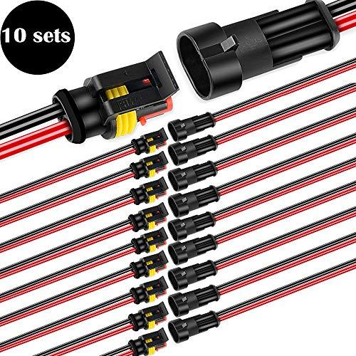 CESFONJER 10 Paare Wasserdicht Schnellverbinder, Kabel Steckverbinder Stecker mit Draht für KFZ LKW Auto Kayak Boote Roller Motorrad (2 Polig)