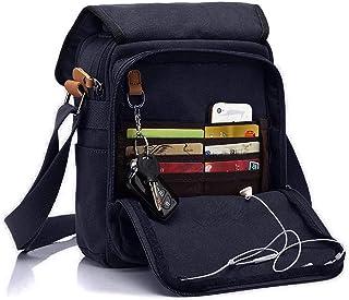 CHEREEKI Canvas Bag, Shoulder Bag Messenger Bag with Multiple Pockets (Hold 10 inch Tablet, iPad, Kindle)