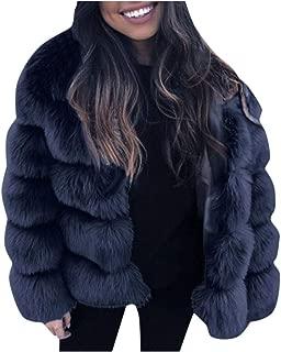 Women Fashion Faux Fur Coat Long Sleeve Winter Warm Outwear Thick Jacket E-Scenery