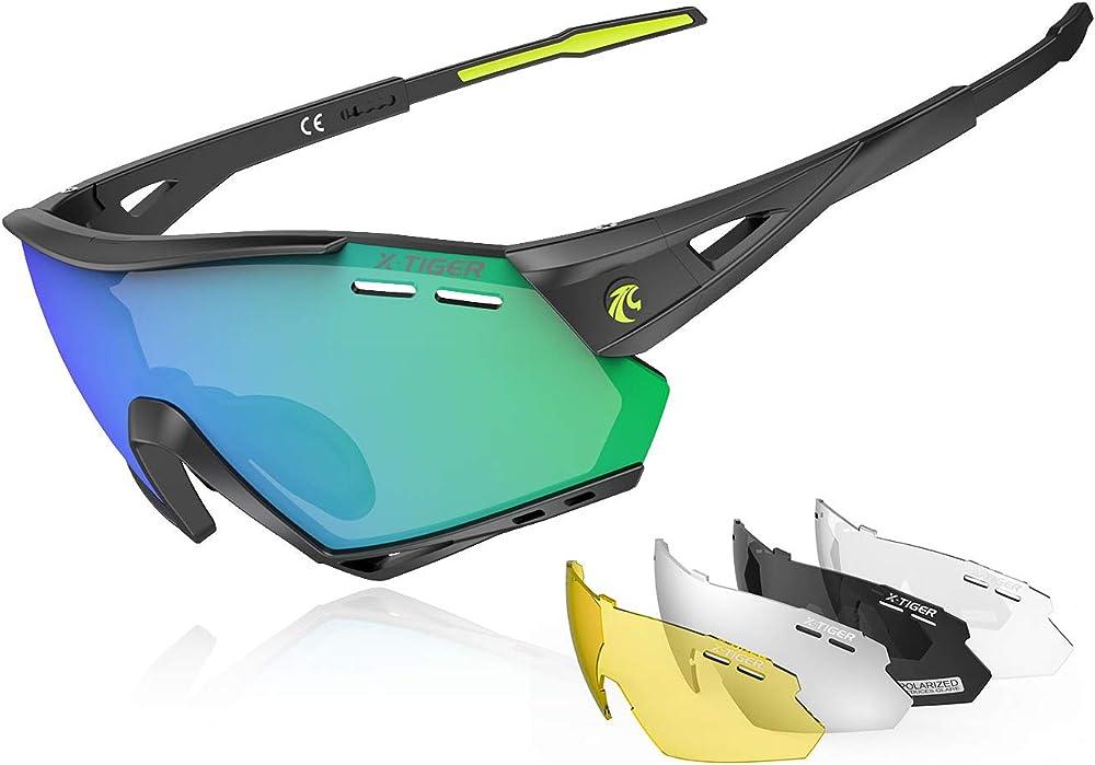 X-tiger occhiali ciclismo ce, polarizzati con 5 lenti intercambiabili, antivento e antiappannamento, da uomo EXS03-5