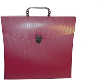 Aurora GB File N Go Portable File Folder with Handle/Latch and 6 Dividers, Burgundy, 13 5/8 in. L x 3 in. W x 12 1/8 in. H...