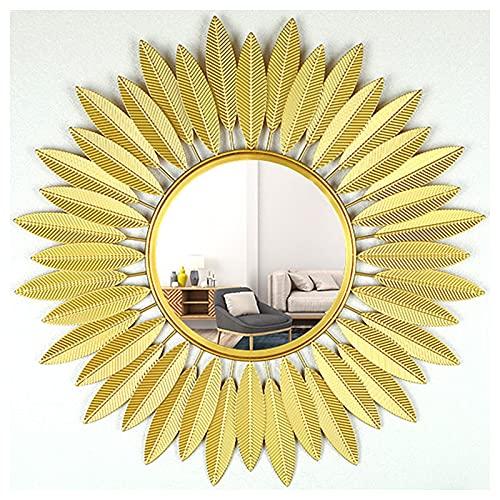 Espejos De Pared, Espejo Decorativo para Colgar En La Pared En Forma De Sol, Espejo De Pared De Metal Sunburst De Arte 3D, para La Sala De Estar, El Baño, El Dormitorio Y La Entrada,Oro,65CM