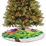 Homesonne Faldas de árbol de Navidad coloridas ilustraciones de fantasía con flores florecientes, ho...