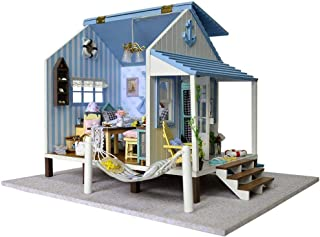 Jeffergrill 3D DIY Wooden Miniature Dollhouse Kits Model House Modern Mini Beach Cottage with Plastic and Wood for Toy or Exhibition