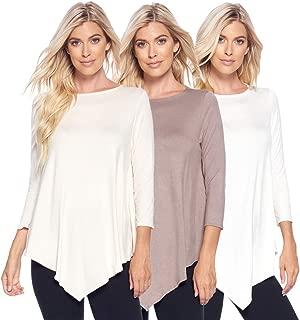 Variety 3-Pack of Women's 3/4 Sleeve Irregular Hem Swing Loose Basic Tunics Tops-Assorted Styles