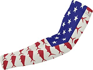 Man Women Sports Compression Arm Sleeve Marlin Sailfish Dolphin USA Flag UV Protective Cover Arms 1 Pair Fit Sports Cycling Golf Running Driving