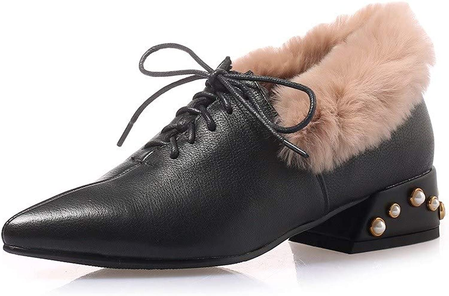 Nine Seven Women's Genuine Leather Pointed Toe Low Chunky Heel Handmade Comfortable Fur Lined Lace Up Winter Work Ankle Boots
