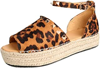 Loosebee◕‿◕ Womens Espadrilles Platform Sandals Ankle Strap Peep Toe Shoes Wedge Ankle Strap Studded Open Toe Sandals