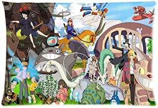Pillowcase Generic Studio Ghibli Character Theme Custom Zippered Cover Pillow Cases Standard Size 20x30 Inches (Twin sides)