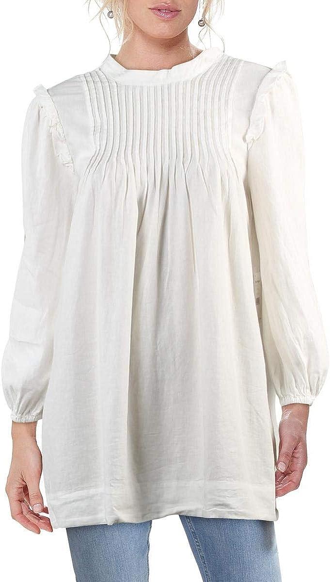Free People Clover Women's Ruffled Pintuck Poet Sleeve Mock Neck Tunic