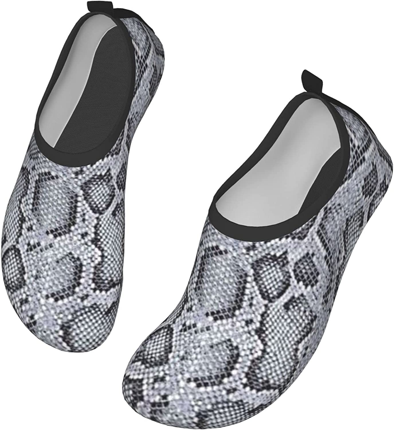 Coseevel Grey Snake Skin Pattern Water Shoes Quick-Dry Aqua Socks Barefoot Shoes for Water Sports Yoga Exercise Men Women Kids