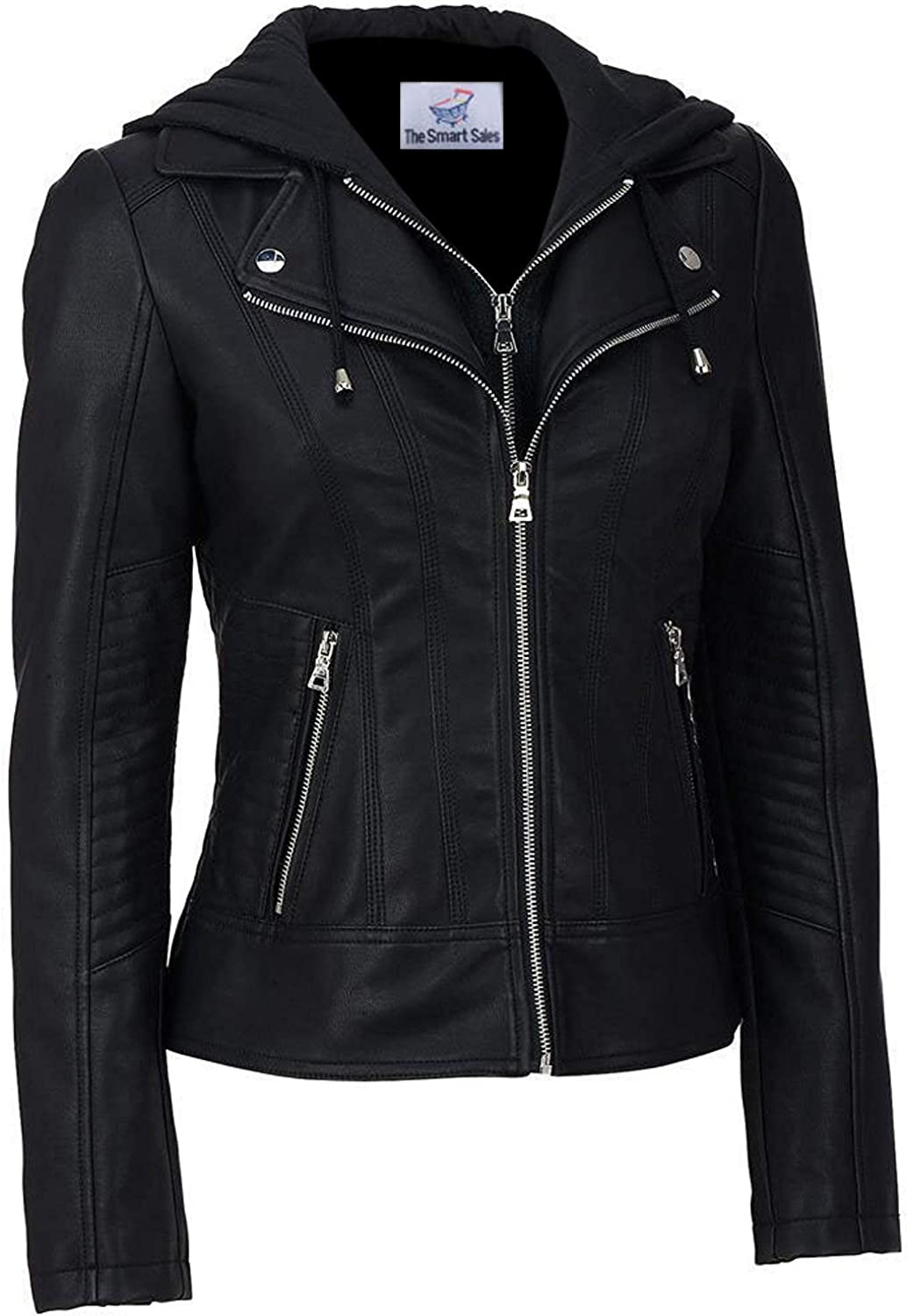 TheSmartSales Black Hooded Faux Custom Made Leather Jacket for Women