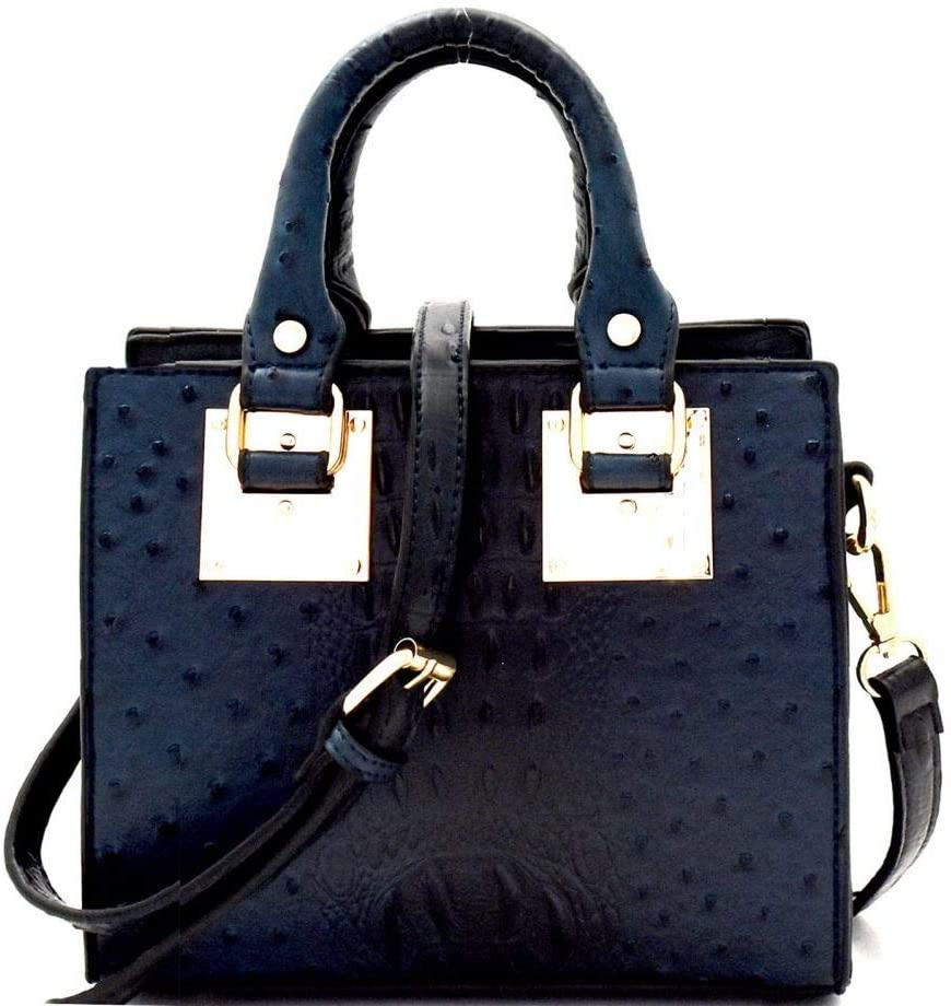 Ostrich Embossed Vegan Selling rankings Leather Small Structured Squ 2 Way Medium Max 40% OFF