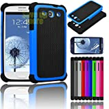 Galaxy S3 Case, [Non-Slip] [Slim Perfect-Fit] [Drop Protection] [Shock-Absorption] [Impact Resistant] Hybrid Dual Layer Galaxy S3 Case, [Hard Plastic with TPU/ Soft Silicone] Protective Case Rubber Bumper Slim Cover Case for Samsung Galaxy S3 SIII i9300 + Screen Protector (Blue)