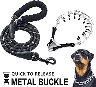OSPet Dog Prong Collar, Professional Dog Pinch Training Collar Adjustable Size with Quick Release Buckle Stainless Steel Choke Pinch Dog Collar with Comfort Tips Heavy Duty Leash