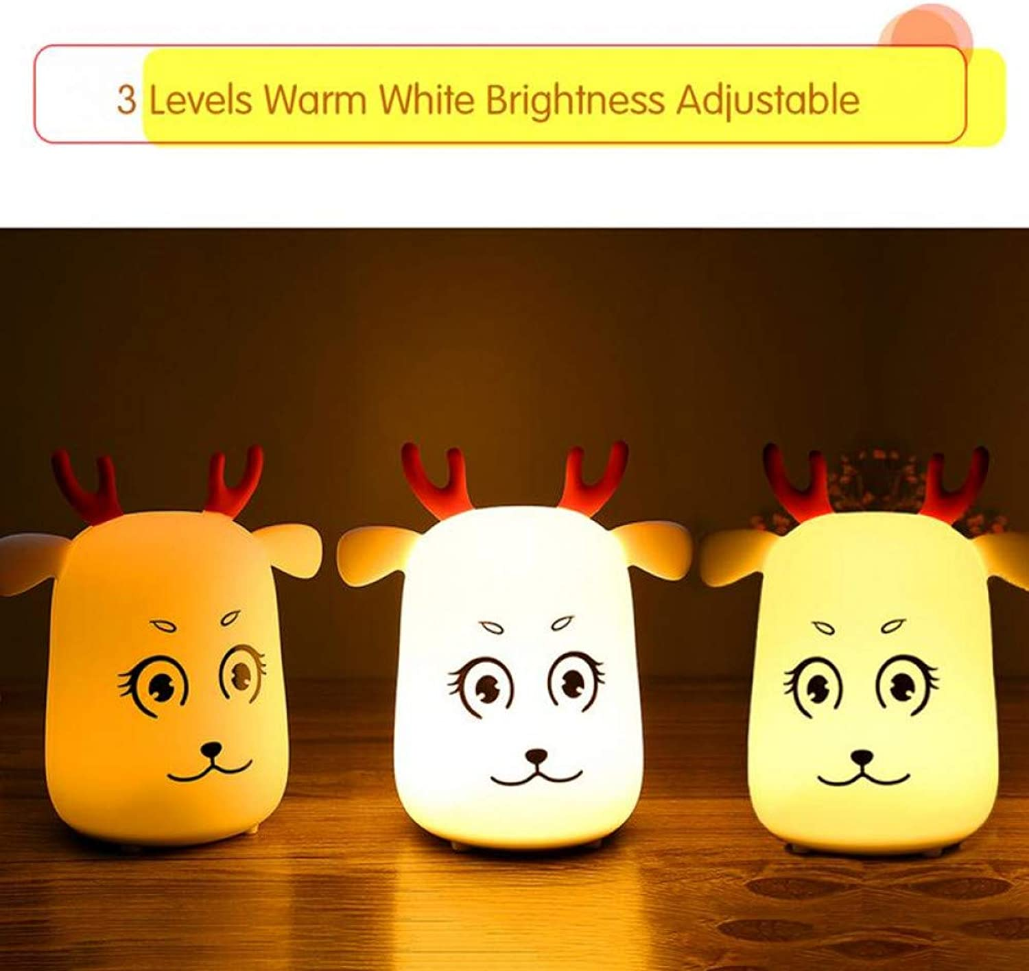 KKXXYD USB Night Light Charging Portable Cute Deer Silicone Lamp Living Room Bedroom Creative colorful Night Light Baby Bed Pat Light