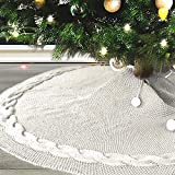 MACUNIN Christmas Tree Skirt, 48 inches Traditional Knitted Thick Rustic Tree Skirt, Luxury Skirt for Xmas Holiday Decorations Indoor Outdoor (Off White)