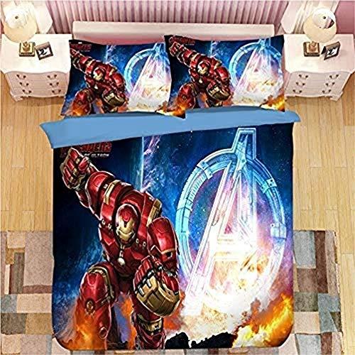 WTTING - Juego de cama de 2/3 piezas con funda de edredón y funda de almohada, poliéster, diseño digital 3D, funda de edredón infantil (T,135 x 200 cm)