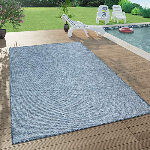 Paco Home In- & Outdoor-Teppich Für Wohnzimmer, Balkon, Terrasse, Flachgewebe In Dunkel Blau, Grösse:140x200 cm