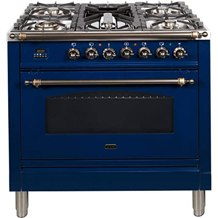 Natural Gas 3.55 cu.ft Bronze Trim 5 Sealed Brass Burners Total Oven Capacity in Blue Ilve UPN90FDMPBLY Nostalgie Series 36 Inch Dual Fuel Convection Freestanding Range
