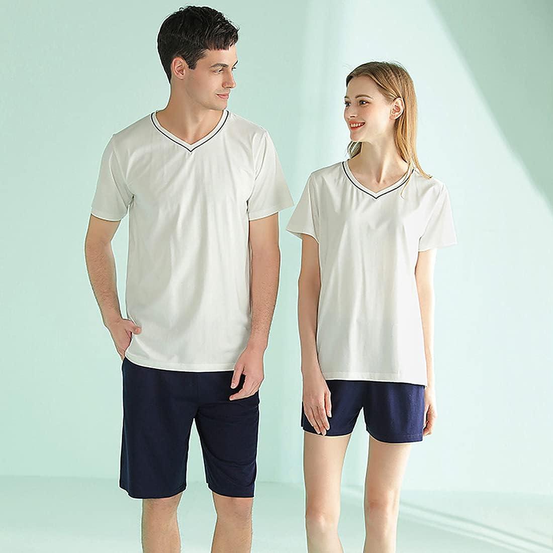 Summer Mens V neck Pajama Set Short Sleeve Shirt Shorts Sets Sleepwear Pjs Set Lightweight L-3XL