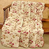 Cozy Line Home Fashions Creamy Vintage Rose Floral Printed Reversible 100% Cotton Quilted Throw Blanket 60' x 50' Machine Washable and Dryable(Vintage Floral)