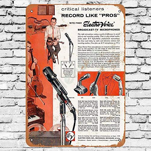 Henson 1959 Electro-Voice Microfoons Traditionele vintage Tin Teken Logo 12 * 8 Reclame Eye-Catching Muurdecoratie