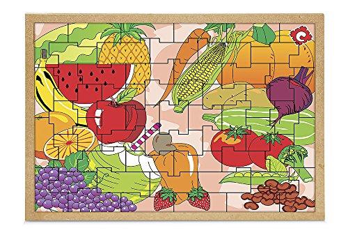 Carlu Brinquedos - Frutas e Legumes Quebra-Cabeça da 55 Peças, 4+ Anos, Multicor, 1300