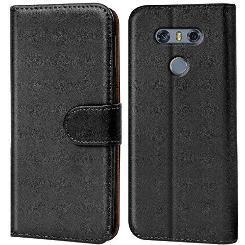 Verco Handyhülle für LG G6 Hülle, Schutzhülle für LG G6 Tasche PU Leder Flip Hülle Brieftasche - Schwarz