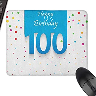 zojihouse 100th Birthday Mouse Pad Bundle Stitched Edges Birthday Party Wish for 100 Years Old with Colorful Dots Happiness Image W8xL9.5 Multicolor