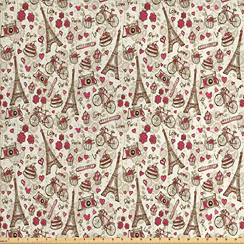 Ambesonne Romantic Fabric by The Yard, Europe French Paris Themed Eiffel Tower Bakery Letterings Hearts Artwork Print, Decorative Fabric for Upholstery and Home Accents, 1 Yard, Magenta Cream