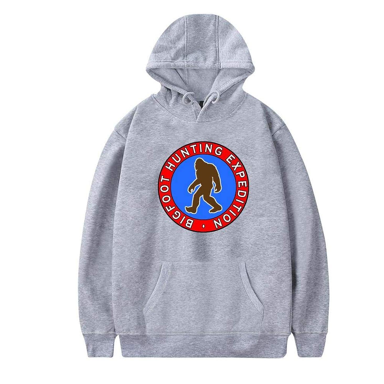 Aslgisy Mens Funny Hooded,Fashion Bigf-oot Hunting Expedition Printed Velvet Pocket Hipster Hip Hop Hoodies